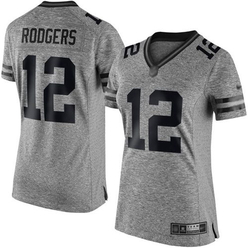 Nike Packers #12 Aaron Rodgers Gray Women's Stitched NFL Limited Gridiron Gray Jersey