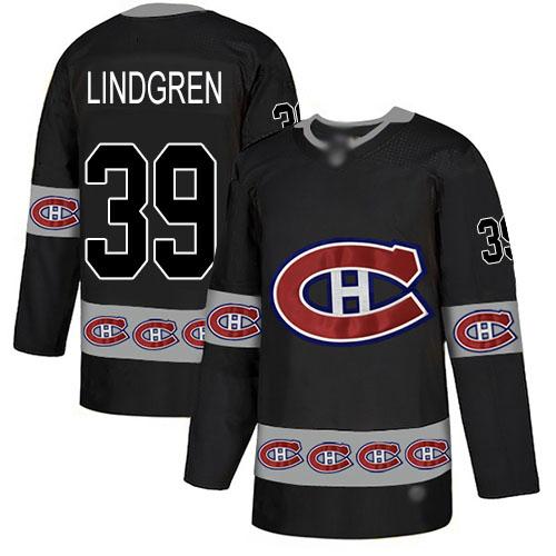 Men's Montreal Canadiens #39 Charlie Lindgren Black Authentic Team Logo Fashion Hockey Jersey