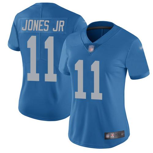 Nike Lions #11 Marvin Jones Jr Blue Throwback Women's Stitched NFL Vapor Untouchable Limited Jersey
