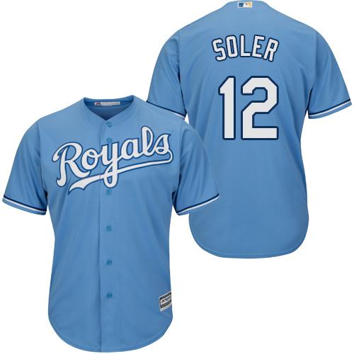 Royals #12 Jorge Soler Light Blue Cool Base Stitched Youth Baseball Jersey