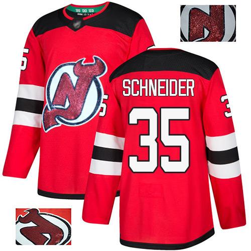 Men's New Jersey Devils #35 Cory Schneider Red Authentic Fashion Gold Hockey Jersey