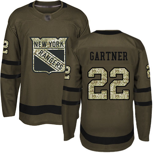 Youth New York Rangers #22 Mike Gartner Green Authentic Salute To Service Hockey Jersey