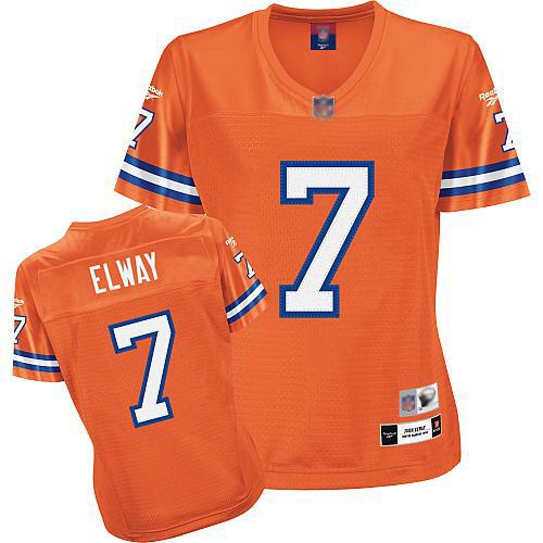 Premier Women's John Elway Orange Home Jersey: Football Denver Broncos #7 Throwback