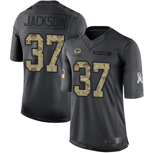Football Josh Jackson Men's Limited Black Jersey: #37 Green Bay Packers 2016 Salute to Service