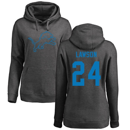 Nevin Lawson Women's Ash Jersey: #24 Football One Color Detroit Lions Pullover Hoodie