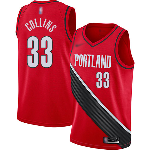 #33 Swingman Zach Collins Youth Red Basketball Jersey - Portland Trail Blazers Finished Statement Edition