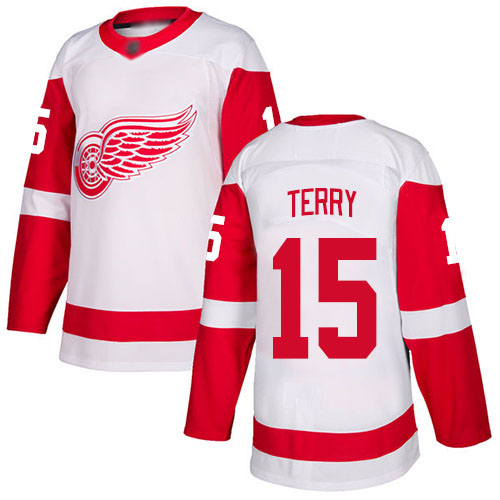 Hockey Youth Chris Terry White Away Authentic Jersey - #15 Detroit Red Wings