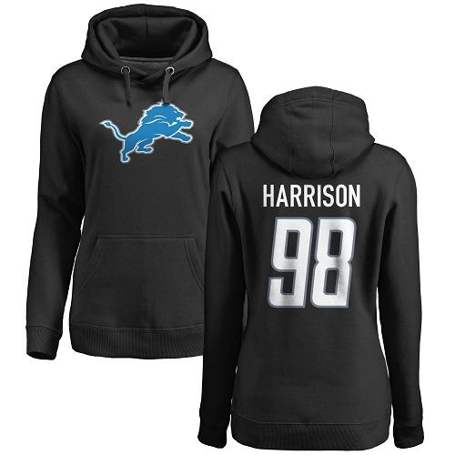 Women's Damon Harrison Black Name & Number Logo - Detroit Lions Football #98 Pullover Hoodie
