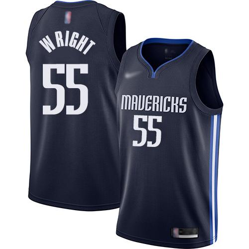 #55 Swingman Delon Wright Women's Navy Blue Basketball Jersey - Dallas Mavericks Finished Statement Edition