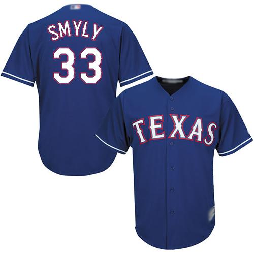 #33 Replica Drew Smyly Men's Royal Blue Baseball Jersey - Alternate Texas Rangers Cool Base
