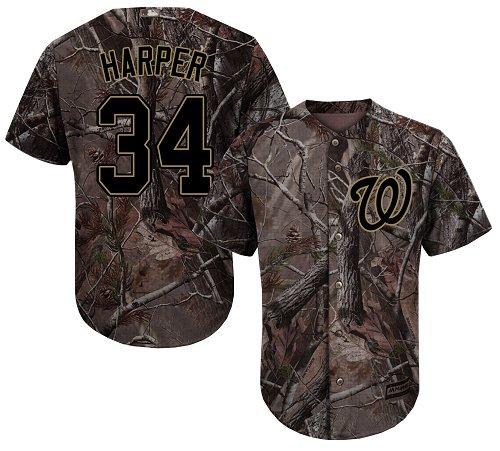 Men's Washington Nationals #34 Bryce Harper Replica Green Salute to Service Baseball Jersey