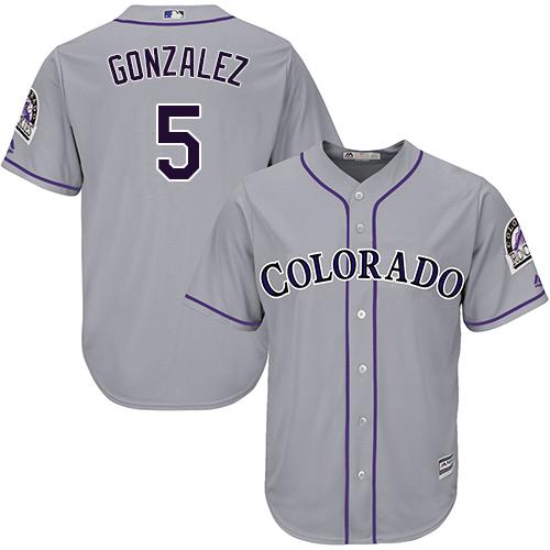 Men's Colorado Rockies #5 Carlos Gonzalez Replica Grey Road Cool Base Baseball Jersey