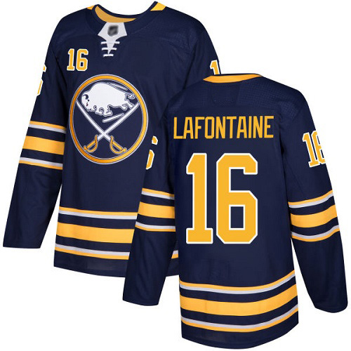 Hockey Men's Pat Lafontaine Navy Blue Home Authentic Jersey - #16 Buffalo Sabres