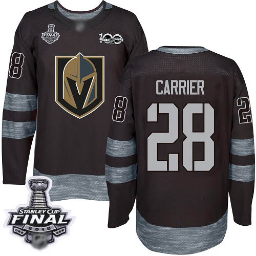 Men's Vegas Golden Knights #28 William Carrier Authentic Black 1917-2017 100th Anniversary 2018 Stanley Cup Final Hockey Jersey