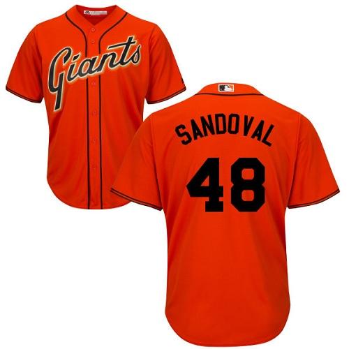 Youth San Francisco Giants #48 Pablo Sandoval Replica Orange Alternate Cool Base Baseball Jersey