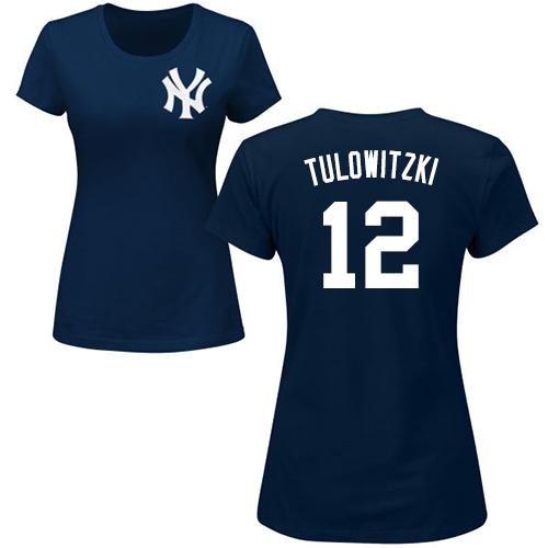 Women's Troy Tulowitzki Navy Blue : Baseball New York Yankees #12 Name & Number T-Shirt