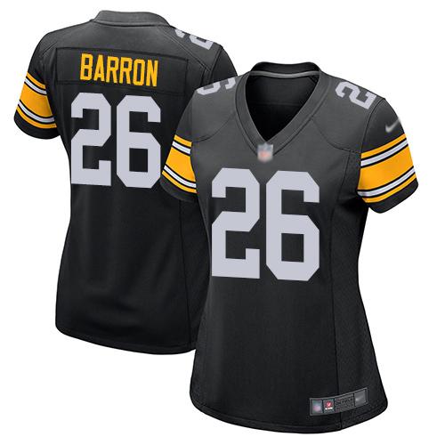 #26 Pittsburgh Steelers Mark Barron Game Women's Alternate Black Jersey: Football