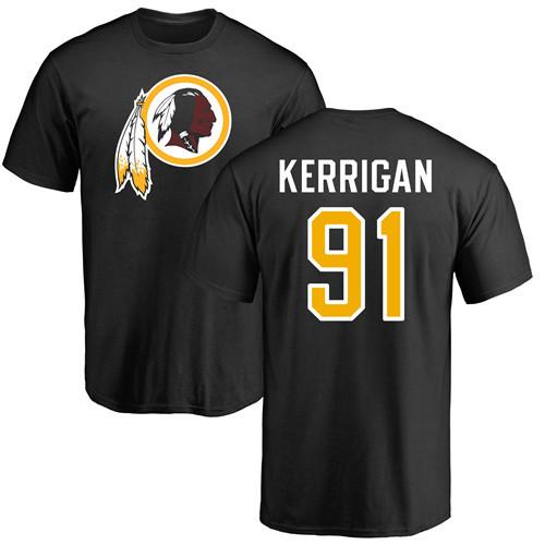 Football Ryan Kerrigan Black : #91 Washington Redskins Name & Number Logo T-Shirt