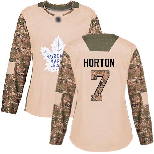 Women's Tim Horton Authentic Camo Hockey Jersey: Toronto Maple Leafs #7 Veterans Day Practice