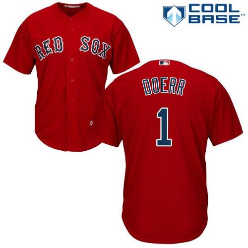 Youth Replica Bobby Doerr Red Alternate Jersey - #1 Baseball Boston Red Sox Cool Base