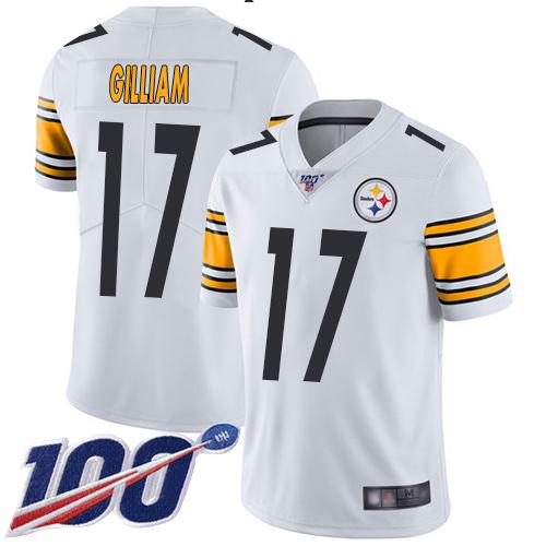 Joe Gilliam Men's Limited White 100th Season Jersey: Nike NFL Pittsburgh Steelers Vapor Untouchable Road #17