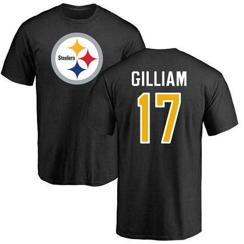 Black Joe Gilliam Name & Number Logo - Football #17 Pittsburgh Steelers T-Shirt