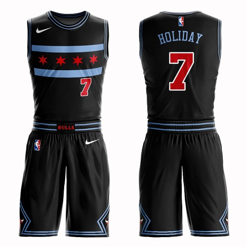 #7 Swingman Justin Holiday Youth Black Basketball Jersey - Chicago Bulls Suit City Edition