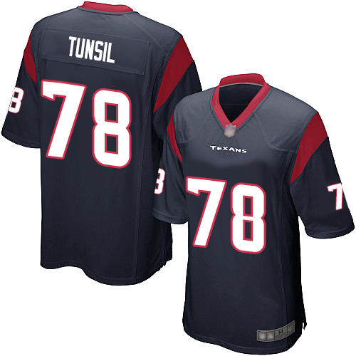 Men's Game Laremy Tunsil Houston Texans Navy Blue Jersey: Football #78 Home