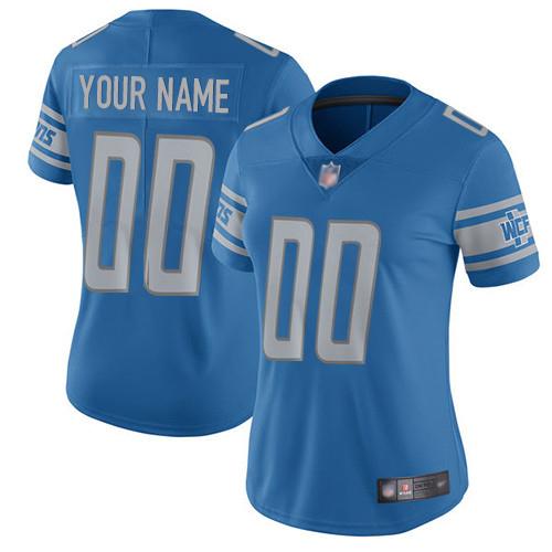Nike Detroit Lions Customized Blue Team Color Stitched Vapor Untouchable Limited Women's NFL Jersey