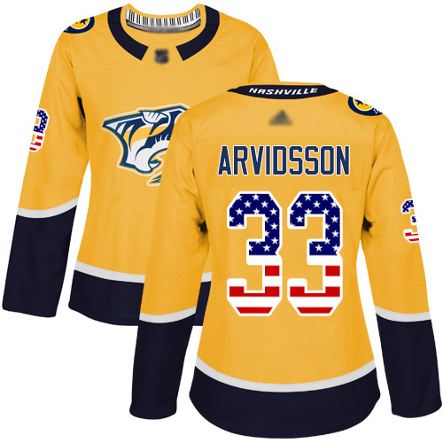 Adidas Predators #33 Viktor Arvidsson Yellow Home Authentic USA Flag Women's Stitched NHL Jersey