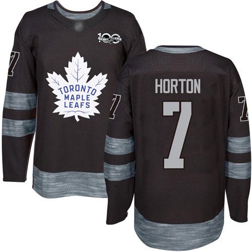 Men's Toronto Maple Leafs #7 Tim Horton Black Authentic 1917-2017 100th Anniversary Hockey Jersey