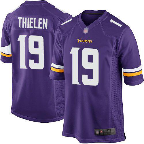 #19 Minnesota Vikings Adam Thielen Game Men's Home Purple Jersey: Football