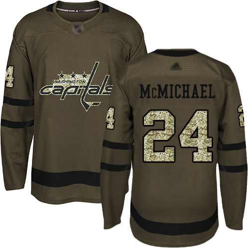Youth Washington Capitals #24 Connor McMichael Green Authentic Salute To Service Hockey Jersey