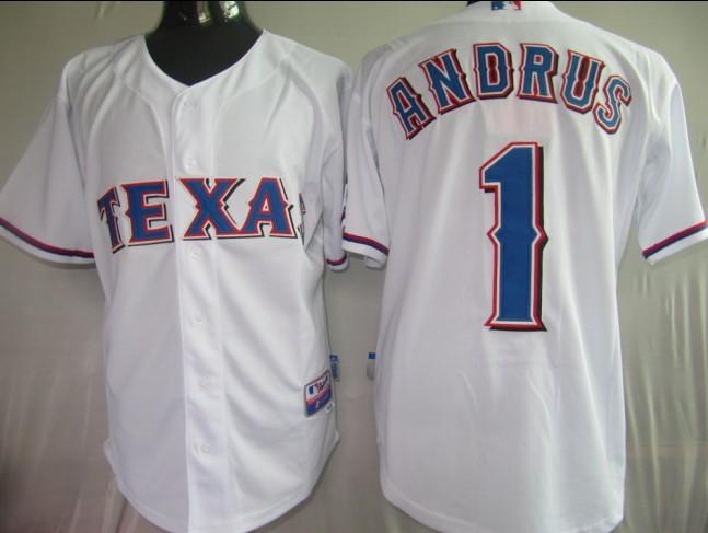Rangers #1 Elvis Andrus White Stitched MLB Jersey