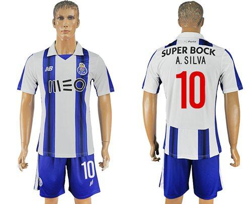 Oporto #10 A.Silva Home Soccer Club Jersey