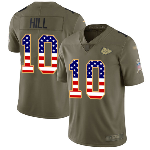 Nike Chiefs #10 Tyreek Hill Olive/USA Flag Youth Stitched NFL Limited 2017 Salute to Service Jersey